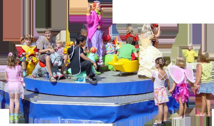 Deze draaimolen kunt u op iedere festiviteit inzetten,  zoals braderieën,  kinderdagverblijven,  openingen,  buurtvereniging,  wijkfeesten,  staatfeesten,  bedrijfsfeesten,  nationale straatspeeldag,  winkelcentra's ,  enz.